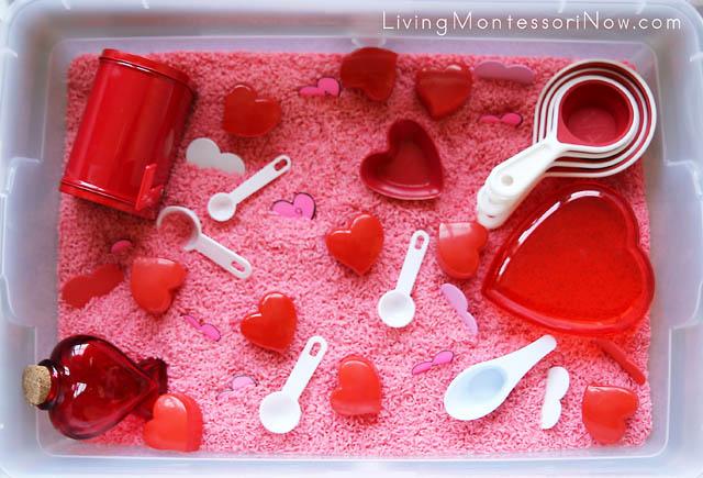 Valentines Day Sensory Bin Living Montessori Now