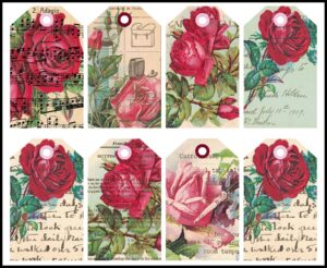 Vintage Postcards Roses Altered Journal Tag