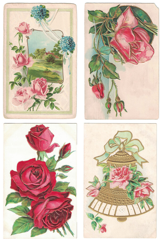 Vintage Postcards Roses Collage