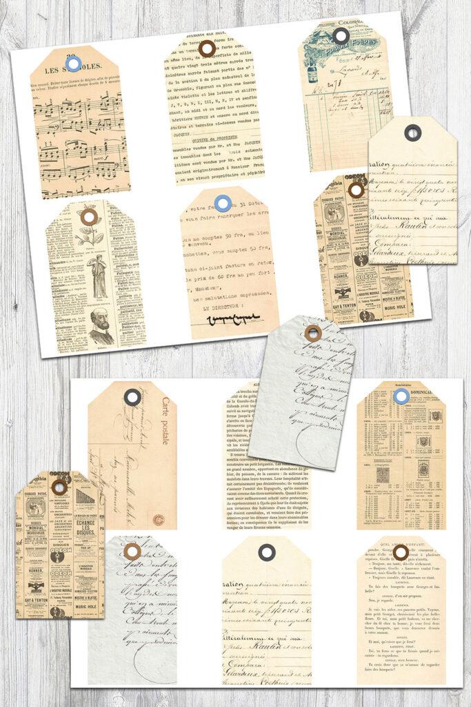 French Ephemera Journal Tags Mockup