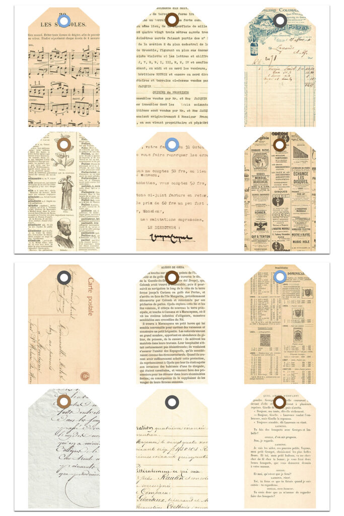 French Ephemera Journal Tags White Background Preview