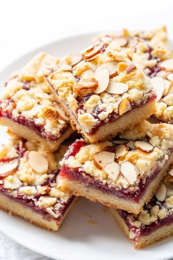 Raspberry Bars with Almonds Saving Room for Dessert
