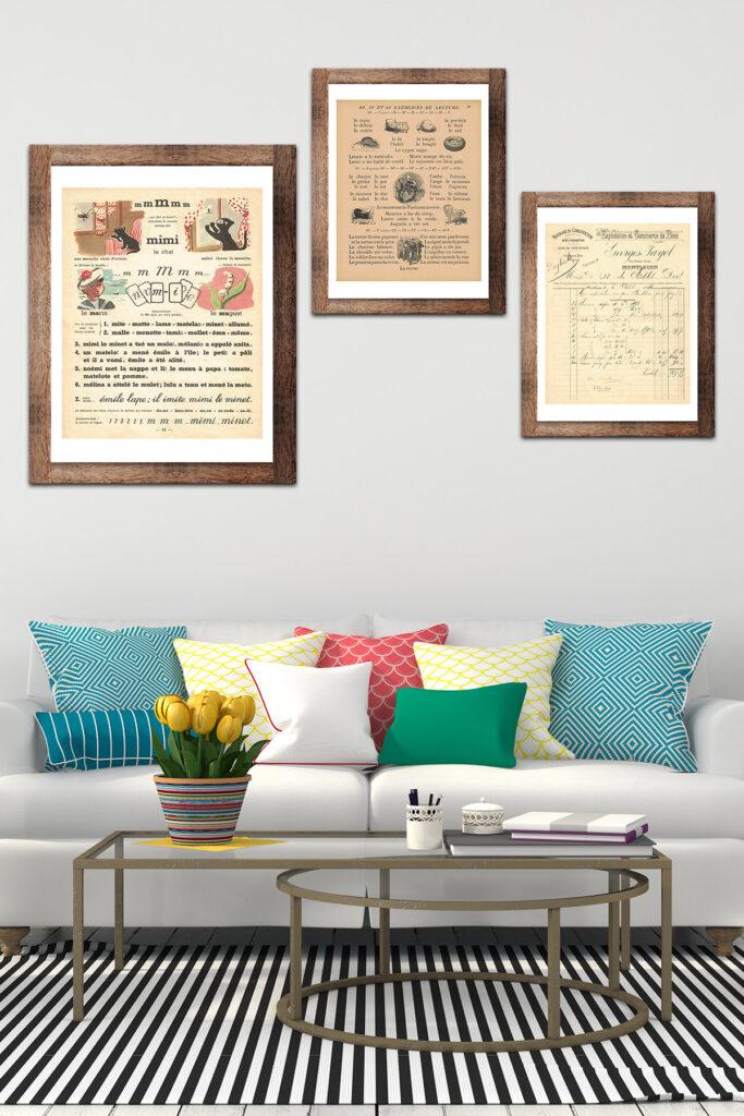 Framed Vintage French Themed Art in Living Room