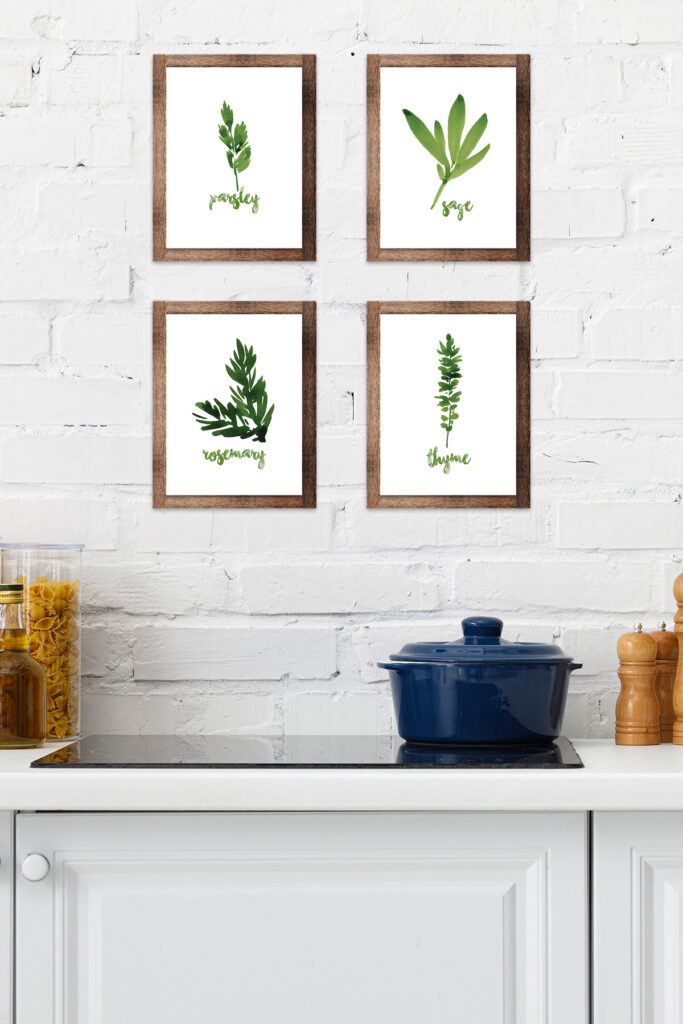 Kitchen Mockup for Framed Watercolor Herbs